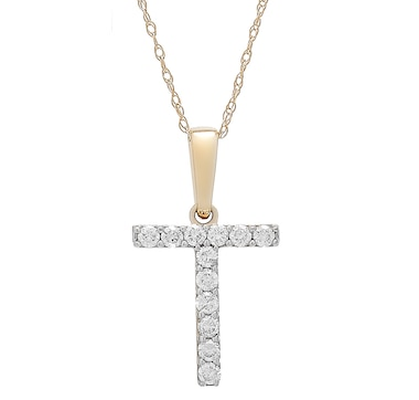 14K White Gold 0.20 ctw Diamond Initial Pendant with Chain