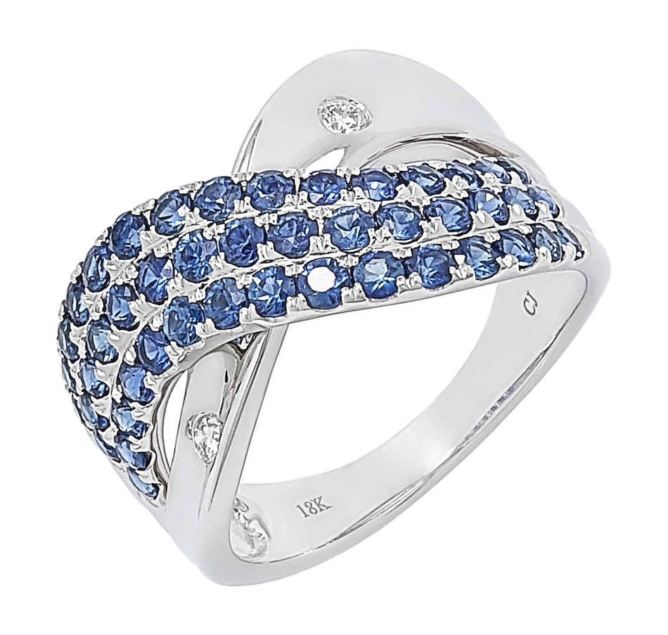 Image 497195.jpg , Product 497-195 / Price $1,399.99 , 18K White Gold Blue Sapphire and Diamond Crossover Ring from The Vault on TSC.ca's Jewellery department