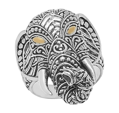Samuel B. Collection Sterling Silver and 18K Yellow Gold Accent Elephant Ring