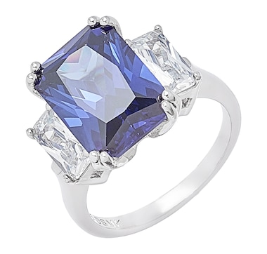 Gem Illusions Sterling Silver Rhodium Plate Simulated Tanzanite & Cubic Zirconia Emerald Cut Ring