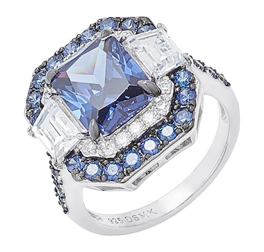 Gem Illusions Sterling Silver Rhodium Plate Simulated Tanzanite and Cubic Zirconia Rectangle Halo Ring