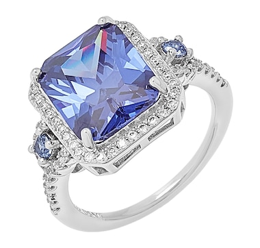 Gem Illusions Sterling Silver Simulated Tanzanite & Cubic Zirconia Tiered Ring