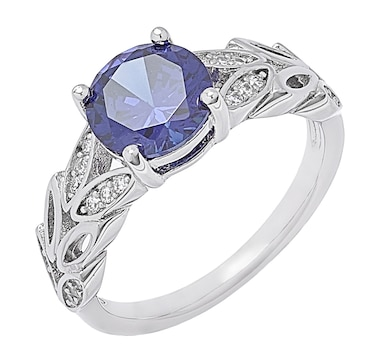 Tanzanite Illusions Sterling Silver Rhodium Plate Simulated Tanzanite & Cubic Zirconia Floral Band Ring