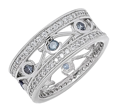 Gem Illusions Sterling Silver Rhodium Plate Simulated Tanzanite & Cubic Zirconia Band