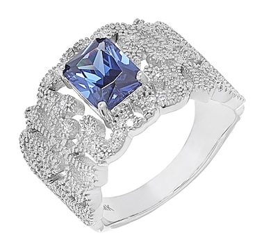 Gem Illusions Sterling Silver Rhodium Plate Simulated Gemstone & Cubic Zirconia Ring