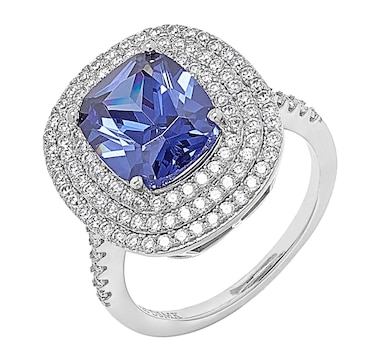 Gem Illusions Sterling Silver Rhodium Plate Simulated Tanzanite & Cubic Zirconia Halo Ring