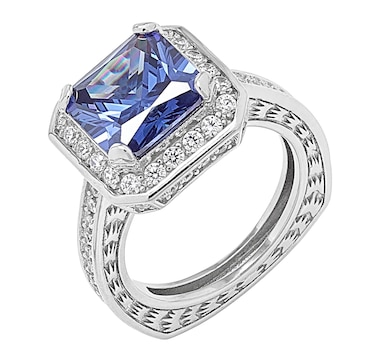 Gem Illusions Sterling Silver Rhodium Plate Square Shaped Simulated Tanzanite & Cubic Zirconia Ring