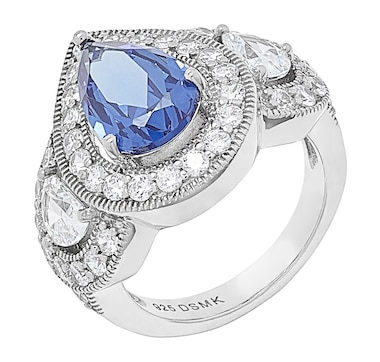 Gem Illusions Sterling Silver Rhodium Plate Simulated Tanzanite & Cubic Zirconia Pear Shaped Ring