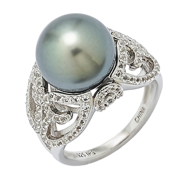 Imperial Pearls Sterling Silver 11-13mm Tahitian Pearl & White Topaz Ring