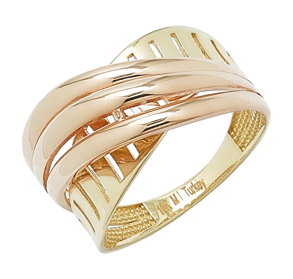 Image 497609_TWTNR.jpg , Product 497-609 / Price $229.99 , International Gold 10K Gold Two-Textured Crossover Ring from International Gold on TSC.ca's Jewellery department