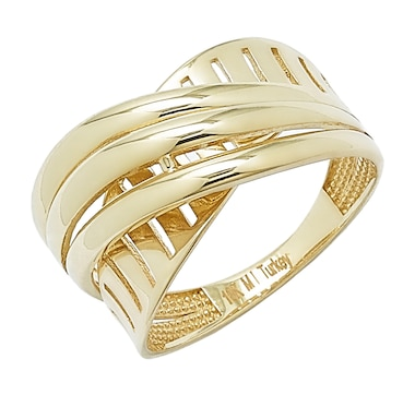 International Gold 10K Gold Two-Textured Crossover Ring