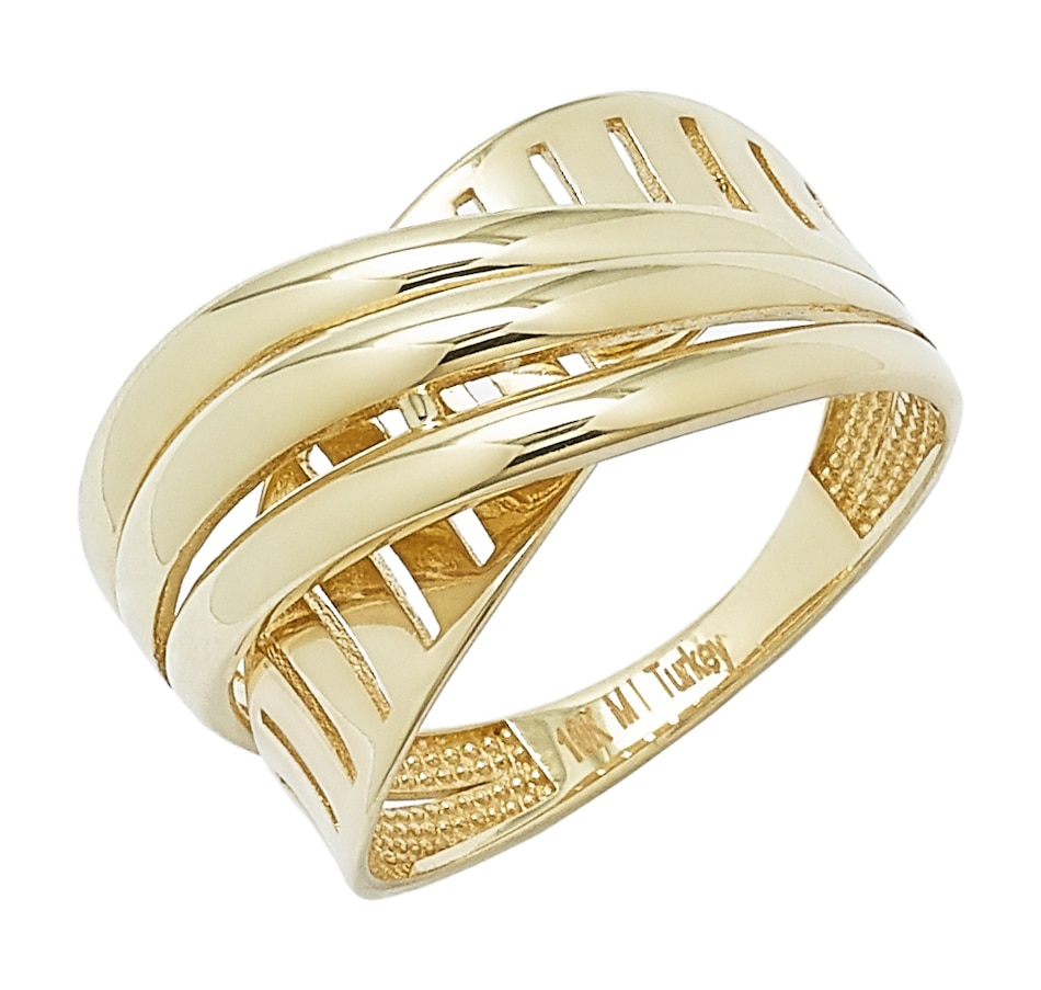 Image 497609_YGL.jpg , Product 497-609 / Price $249.99 , International Gold 10K Gold Two-Textured Crossover Ring from International Gold on TSC.ca's Jewellery department