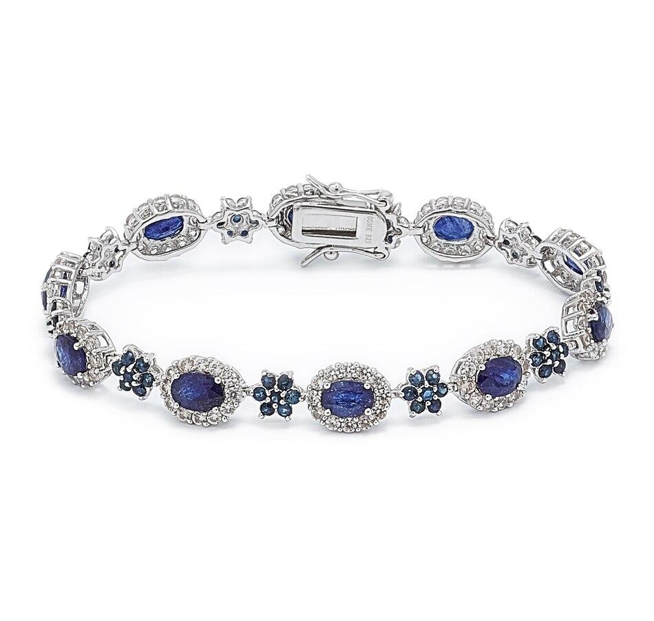 Image 497683.jpg , Product 497-683 / Price $929.99 , Elizabeth Strauss Sterling Silver Blue Sapphire & White Zircon Line Bracelet from Elizabeth Strauss Gem Jewellery on TSC.ca's Jewellery department