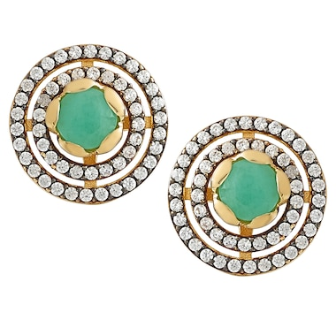 Elizabeth Strauss Sterling Silver Gemstone Halo Stud Earrings