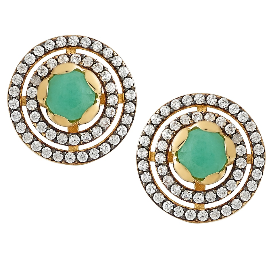 Image 497686_EMR.jpg , Product 497-686 / Price $59.33 , Elizabeth Strauss Sterling Silver Gemstone Halo Stud Earrings from Elizabeth Strauss Gem Jewellery on TSC.ca's Jewellery department