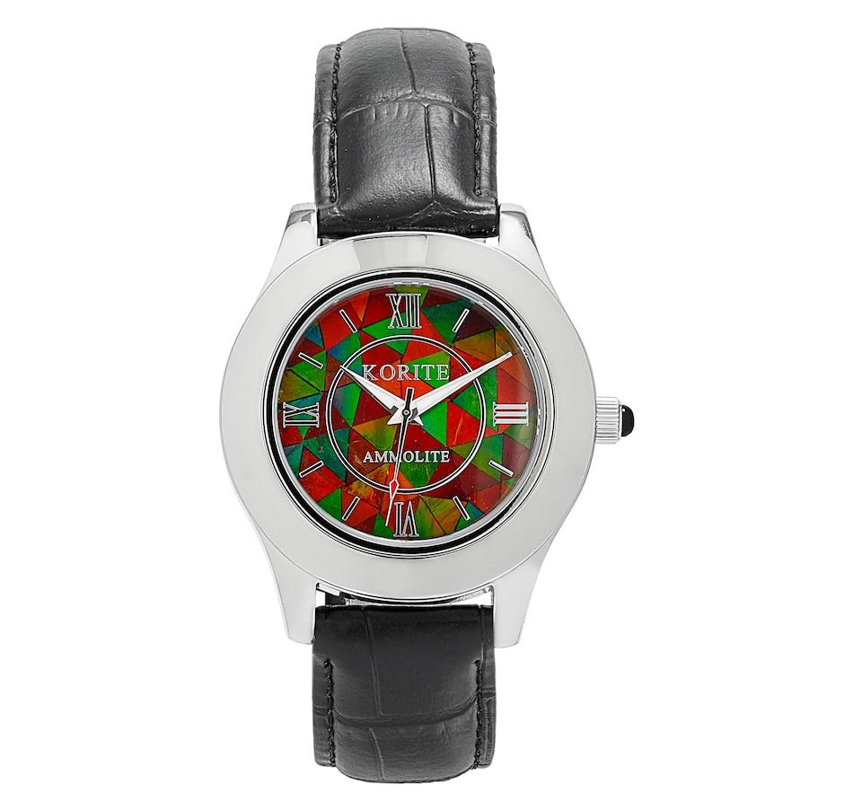 Image 497771_BLK.jpg , Product 497-771 / Price $419.88 , Korite Ammolite Full Face Ammolite Mosaic Leather Strap Men's Watch from Korite Ammolite on TSC.ca's Jewellery department