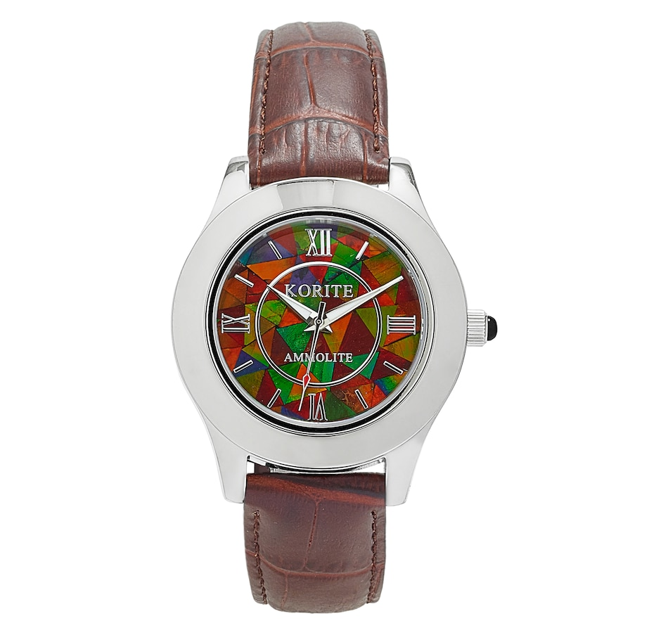 Image 497771_BRN.jpg , Product 497-771 / Price $419.88 , Korite Ammolite Full Face Ammolite Mosaic Leather Strap Men's Watch from Korite Ammolite on TSC.ca's Jewellery department