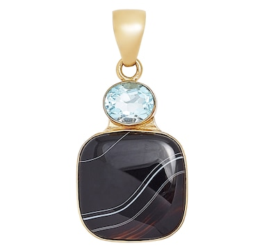Alchemia by Charles Albert Blue Topaz & Black Sardonyx Pendant