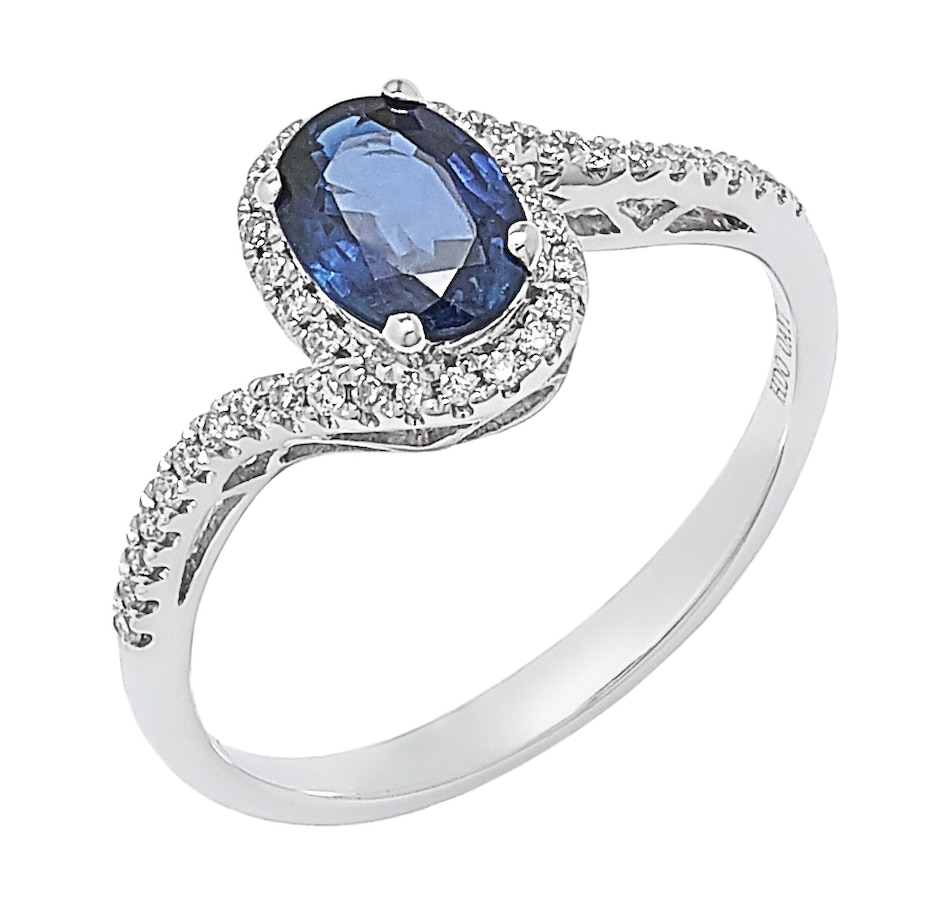 Image 498004.jpg , Product 498-004 / Price $1,428.99 , 14K White Gold Blue Sapphire and Diamond Halo Ring from The Vault on TSC.ca's Jewellery department