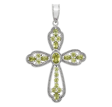 Himalayan Gems Sterling Silver Gemstone Cross Pendant