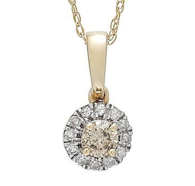 """14K Yellow Gold Champagne and White Diamond Halo Pendant and 18"""" Chain"""