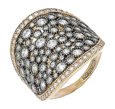 Ottoman Silver Sterling Silver Pave Cubic Zirconia Ring