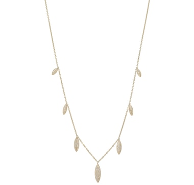 Graziela Fine Jewellery 14K Gold Diamond Leaf Charm Necklace