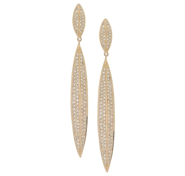 Graziela Fine Jewellery 14K Gold Diamond Leaf Drop Earrings