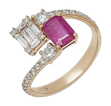 Graziela Fine Jewellery 14K Yellow Gold Ruby & Diamond Bypass Ring