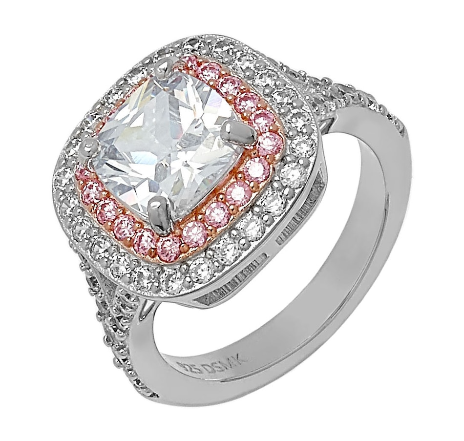Image 498295_PNK.jpg , Product 498-295 / Price $119.99 , Deborah Freund Designs Sterling Silver Cubic Zirconia Cushion Halo Ring from Deborah Freund Designs on TSC.ca's Jewellery department