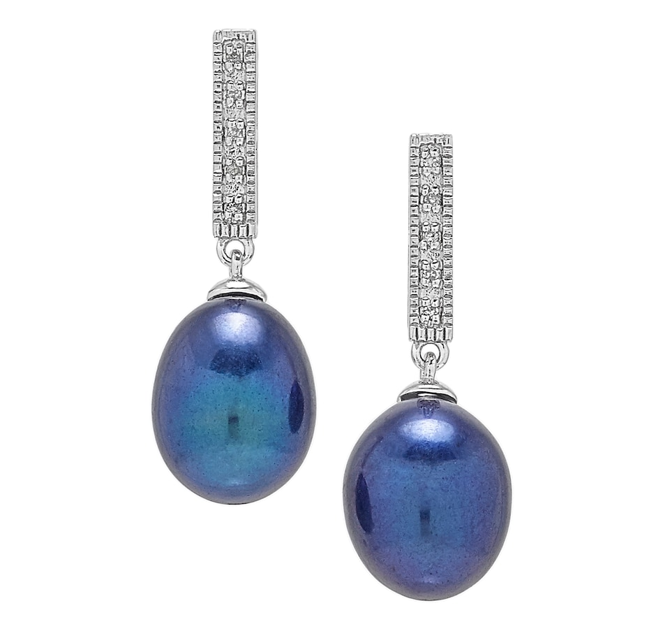 Image 498384_BLK.jpg , Product 498-384 / Price $153.00 , Imperial Pearls Sterling Silver 9-10mm Freshwater Cultured Pearl & Diamond Drop Earrings from Imperial Pearl on TSC.ca's Jewellery department
