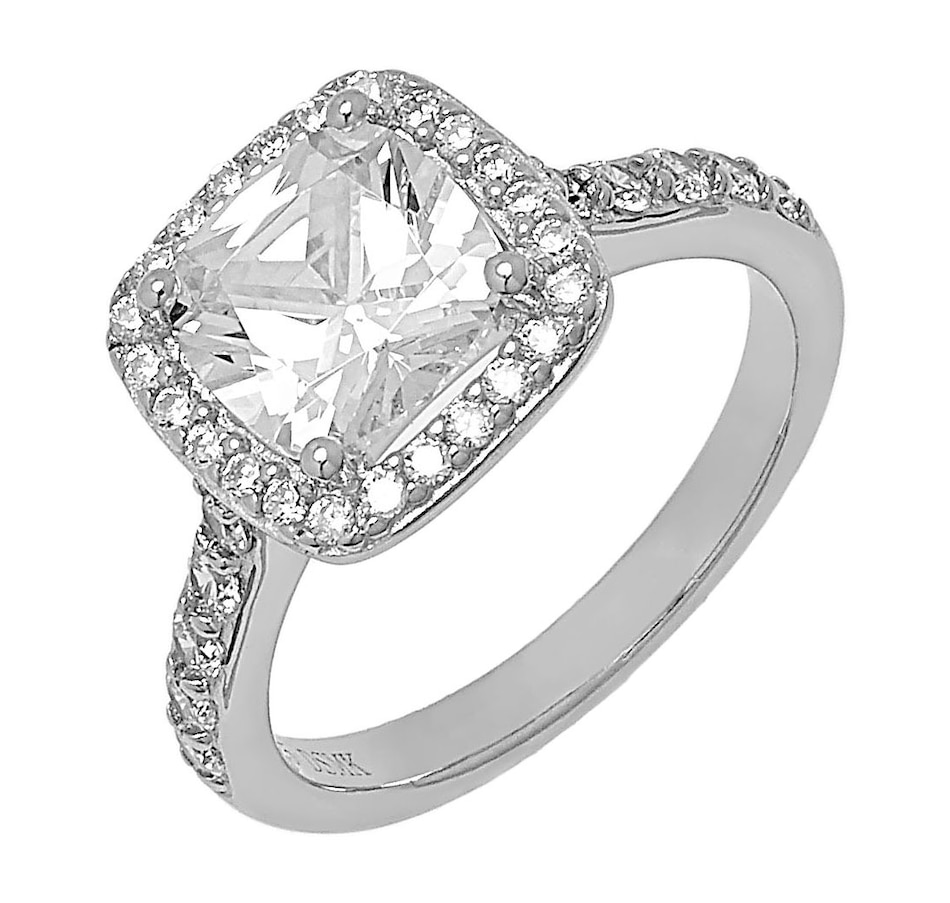 Image 498386_WHT.jpg , Product 498-386 / Price $69.99 , Deborah Freund Designs Sterling Silver Square Cushion Cubic Zirconia Halo Ring from Deborah Freund Designs on TSC.ca's Jewellery department