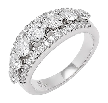 Deborah Freund Designs Sterling Silver White Cubic Zirconia Band Ring