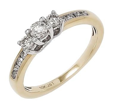 10K Gold Trinity Diamond Ring