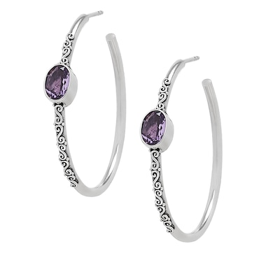 Samuel B. Collection Sterling Silver Oval Gemstone Hoop Earrings