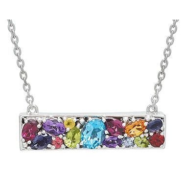 Samuel B. Collection Sterling Silver Multi Gemstone Bar Necklace