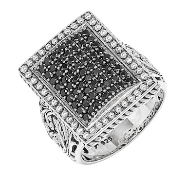 Samuel B. Collection Sterling Silver Black Spinel Balinese Style Ring