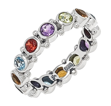 Samuel B. Collection Sterling Silver Multi Gemstone Eternity Band