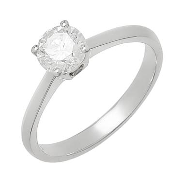 18K White Gold 0.79 ctw Diamond Solitaire Ring