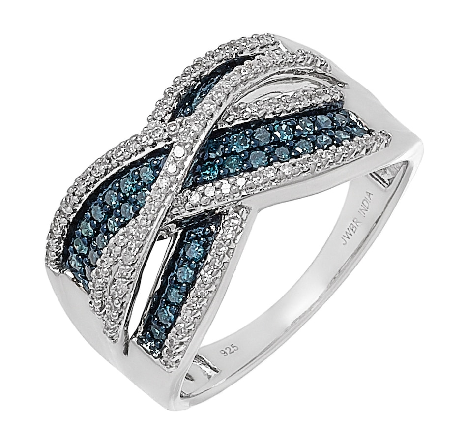 Image 499196_BLURH.jpg , Product 499-196 / Price $379.99 , Colours of Diamonds Sterling Silver 0.50 ctw Colour & White Diamond Crossover Ring from Colours of Diamonds on TSC.ca's Jewellery department