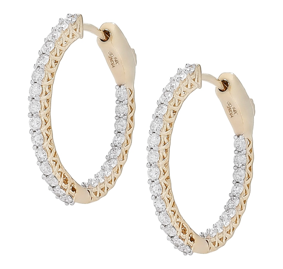 Image 499371_YGL.jpg , Product 499-371 / Price $1,349.99 , 14K Gold 1.0 ctw Inside Out Diamond Hoop Earrings from Diamond Show on TSC.ca's Jewellery department