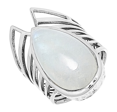 Himalayan Gems Sterling Silver Pear Shape Cabochon Gemstone Ring