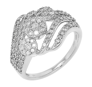 10K White Gold 1.00 ctw Diamond Cluster Bypass Ring