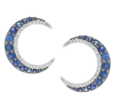 Graziela Fine Jewellery 14K White Gold Blue Sapphire & Diamond Cresent Earrings