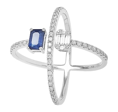 Graziela Fine Jewellery 14K White Gold Diamond & Blue Sapphire Cross Ring