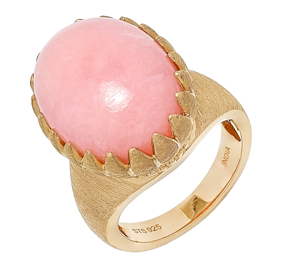 Image 499719_18KYV.jpg , Product 499-719 / Price $349.99 , Elizabeth Strauss Sterling Silver 18K Yellow Vermiel Pink Opal Ring from Elizabeth Strauss Gem Jewellery on TSC.ca's Jewellery department