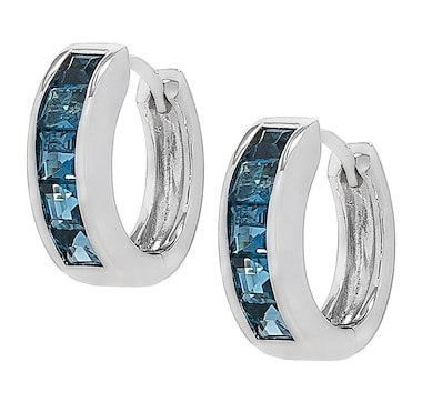 Elizabeth Strauss Sterling Silver Gemstone Hoop Earrings