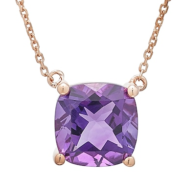 10K Rose Gold Cushion Cut Amethyst Pendant with Chain