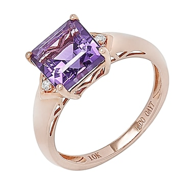 10K Rose Gold Square Cut Amethyst & Diamond Ring