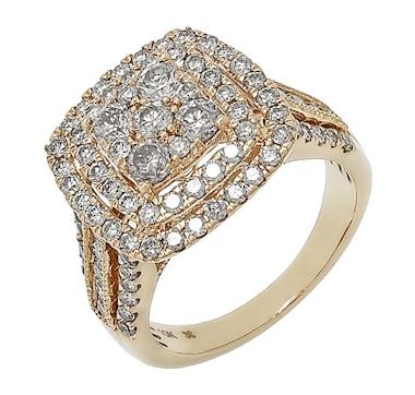 Diamond Show 10K Yellow Gold 2.00 ctw Diamond Multi-Layer Halo Ring